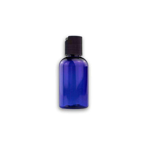 2 oz Blue Plastic Boston Round Bottle w/ Black Disc Top - Your Oil Tools