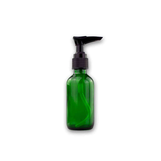 2 oz Green Glass Bottle w/ Black Pump Top - Your Oil Tools