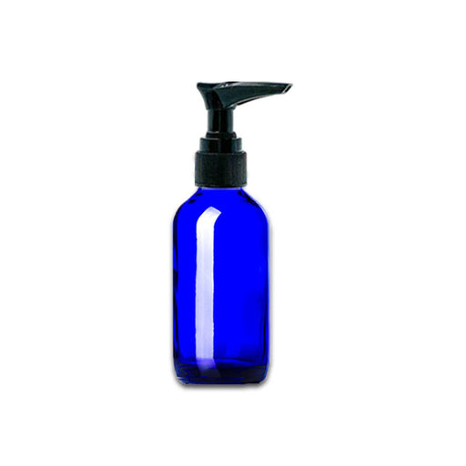 2 oz Blue Glass Bottle w/ Black Pump Top - Your Oil Tools