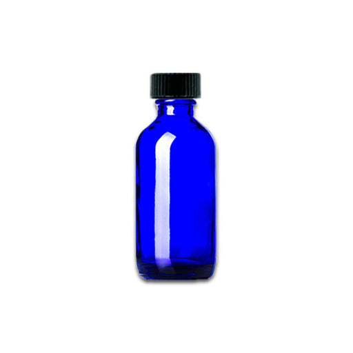 2 oz Blue Glass Bottle w/ Storage Cap - Your Oil Tools