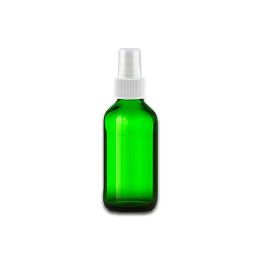 2 oz Green Glass Bottle w/ White Fine Mist Top - Your Oil Tools