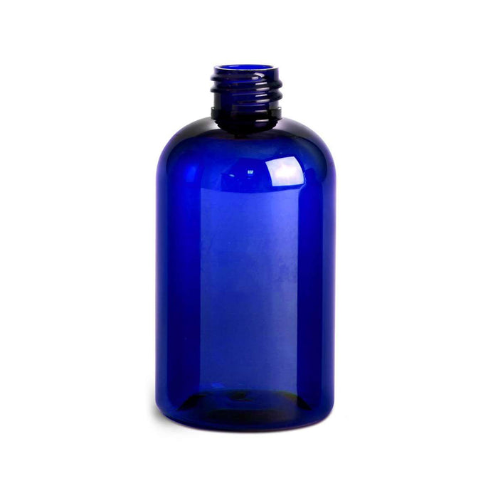 4 oz Blue Plastic Boston Round Bottle 20 mm (caps NOT included) - Your Oil Tools