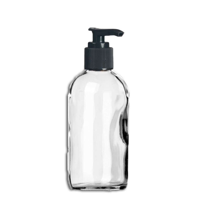 4 oz Clear Glass Bottle w/ Black Pump Top - Your Oil Tools