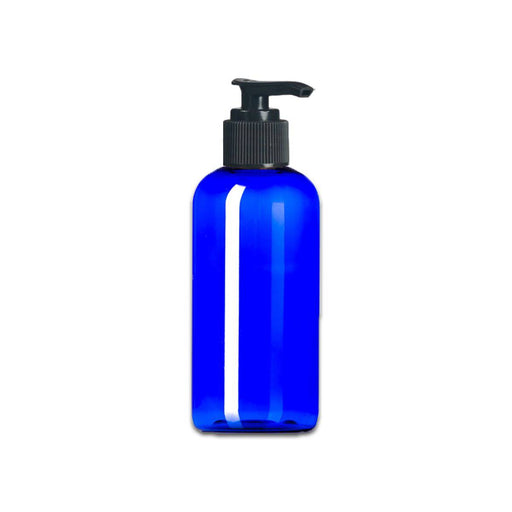 4 oz Blue Plastic Boston Round Bottle w/ Black Pump Top - Your Oil Tools