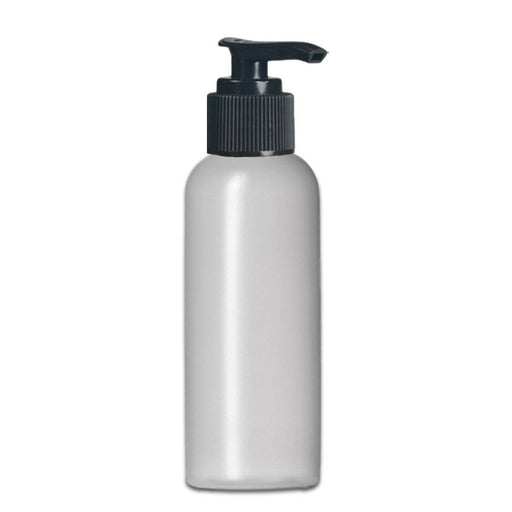 4 oz Natural-Colored HDPE imperial round bottle w/ Black Lotion Pump - Your Oil Tools