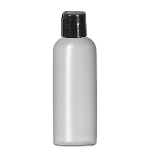 4 oz Natural-Colored HDPE imperial round bottle w/ Black Disc Top - Your Oil Tools