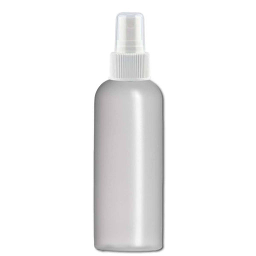 4 oz Natural-Colored HDPE imperial round bottle w/ White Fine Mist Top - Your Oil Tools