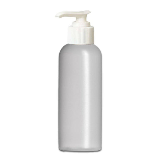 4 oz Natural-Colored HDPE imperial round bottle w/ White Lotion Pump - Your Oil Tools