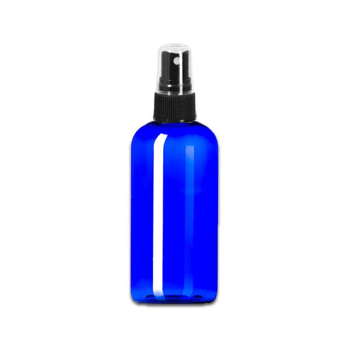 4 oz Blue Plastic Boston Round Bottle w/ Fine Mist Top - Your Oil Tools
