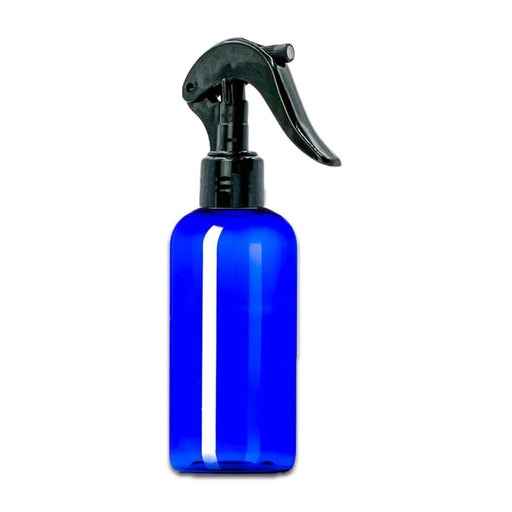 4 oz Blue Plastic Boston Round Bottle w/ Black Trigger Sprayer - Your Oil Tools