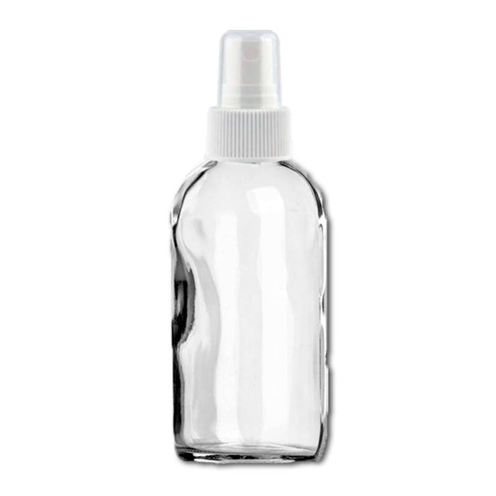 4 oz Clear Glass Bottle w/ White Fine Mist Top - Your Oil Tools