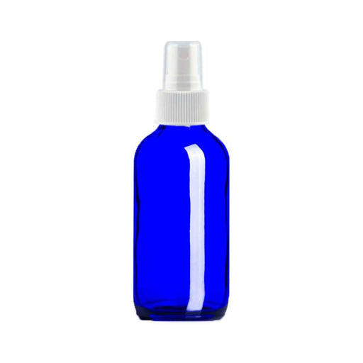 4 oz Blue Glass Bottle w/ White Fine Mist Top - Your Oil Tools
