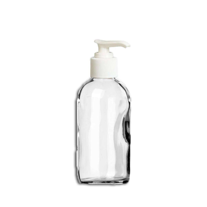 4 oz Clear Glass Bottle w/ White Lotion Pump - Your Oil Tools