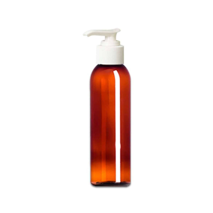 4 oz Amber Plastic Bottle w/ White Pump Top - Your Oil Tools