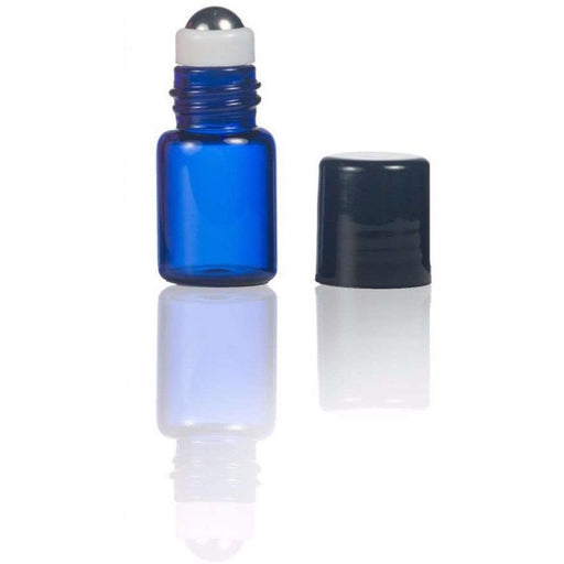 2 ml Blue Glass Vial w/ Stainless Steel Roller (Pack of 5) - Your Oil Tools