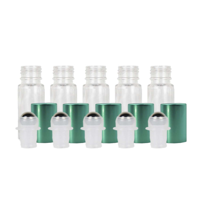 5 ml Clear Glass Roller Bottles w/ Metal Caps (Pack of 5) - Your Oil Tools