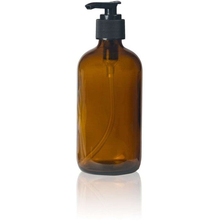 8 oz Amber Glass Bottle w/ Black Pump Top - Your Oil Tools