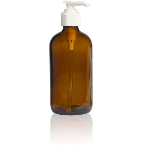 8 oz Amber Glass Bottle w/ White Pump Top - Your Oil Tools