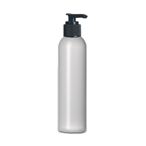 8 oz Natural HDPE Plastic Bottle w/ Black Pump Top - Your Oil Tools
