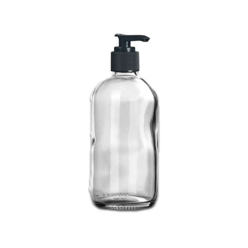 8 oz Clear Glass Bottle w/ Black Pump Top - Your Oil Tools