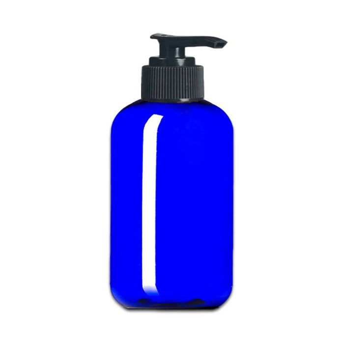 8 oz Blue Plastic Boston Round Bottle w/ Black Pump Top - Your Oil Tools