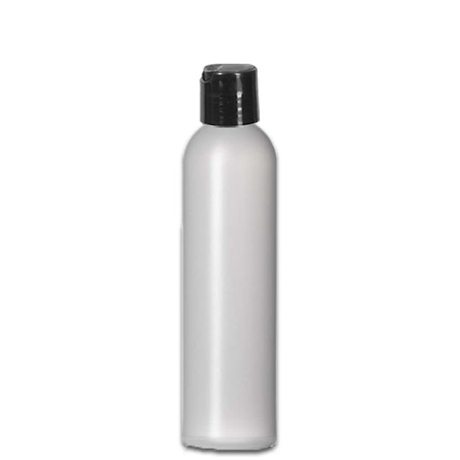 8 oz Natural HDPE Plastic Bottle w/ Black Disc Top - Your Oil Tools