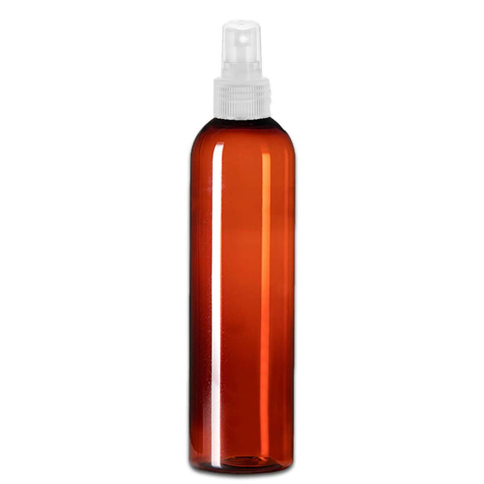 8 oz Amber Plastic Bottle w/ Natural Clear Fine Mist Top - Your Oil Tools