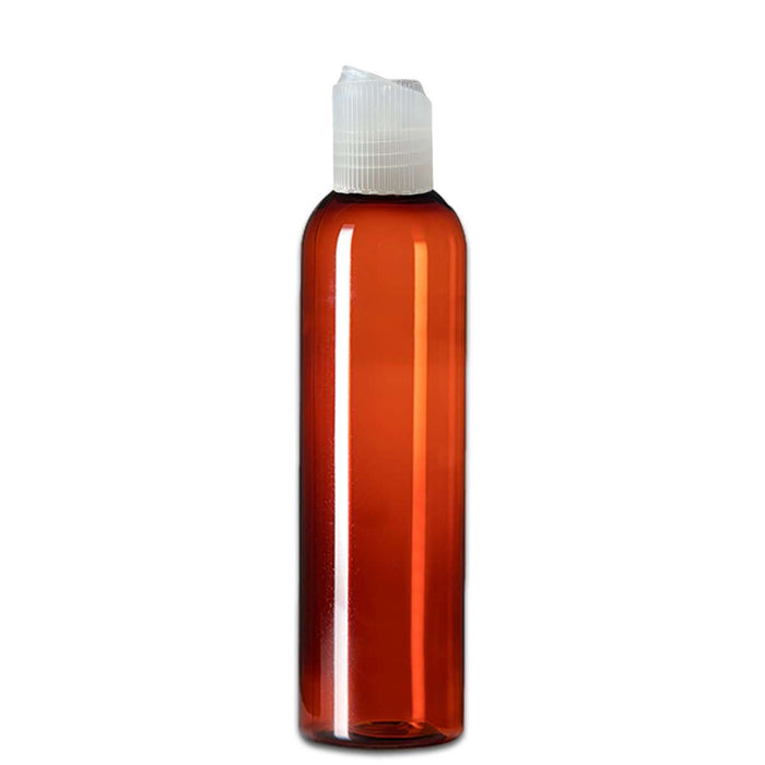 8 oz Amber Plastic Bottle w/ Natural Polypropylene Ribbed Disc Top - Your Oil Tools