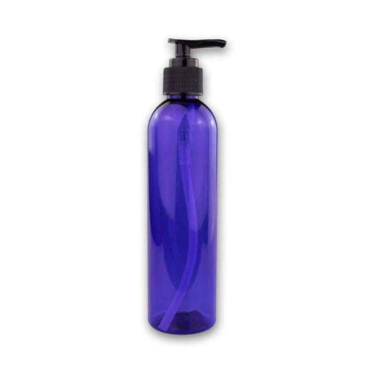 8 oz Blue Plastic Bottle w/ Black Pump Top - Your Oil Tools