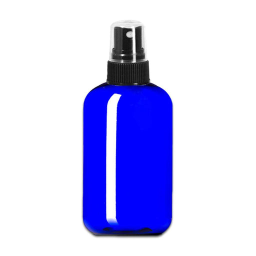 8 oz Blue Plastic Boston Round Bottle w/ Fine Mist Top - Your Oil Tools