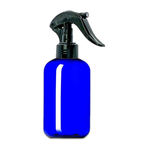 8 oz Blue Plastic Boston Round Bottle w/ Trigger Sprayer - Your Oil Tools