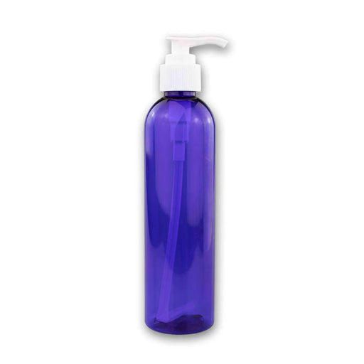8 oz Blue Plastic Bottle w/ White Pump Top - Your Oil Tools