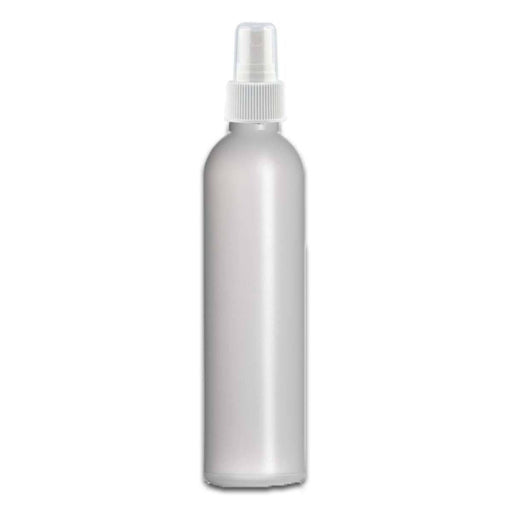 8 oz Natural HDPE Plastic Bottle w/ White Fine Mist Top - Your Oil Tools