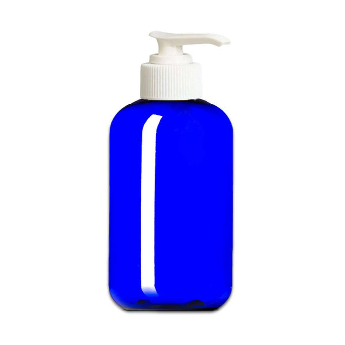 8 oz Blue Plastic Boston Round Bottle w/ White Pump Top - Your Oil Tools