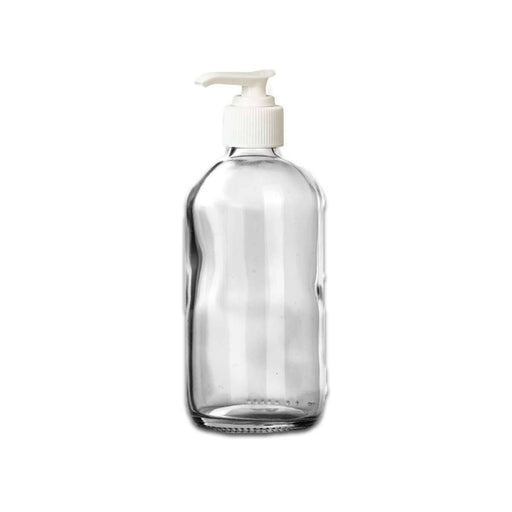 8 oz Clear Glass Bottle w/ White Pump Top - Your Oil Tools