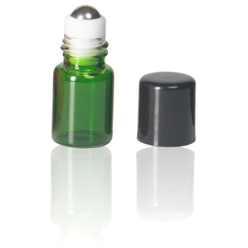 2 ml Green Glass Vial w/ Stainless Steel Roller (Pack of 5) - Your Oil Tools