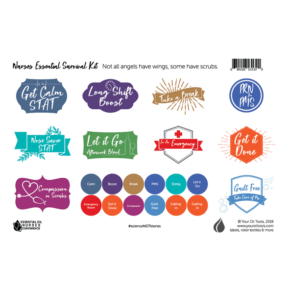 Nurses Essential Survival Kit Label Sheet