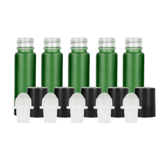 10ml Green Frosted Glass Roller Bottle (Pack of 5)