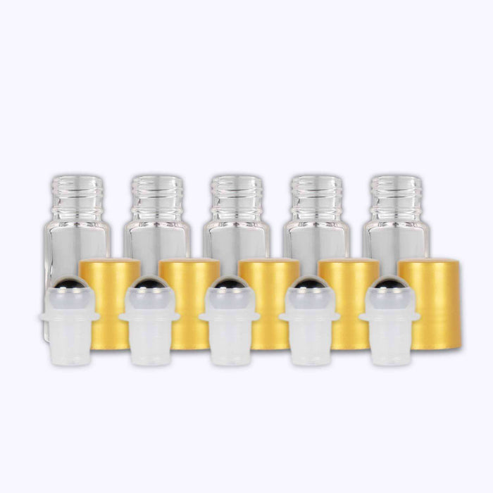 5 ml Clear Glass Roller Bottles (Pack of 5) - Your Oil Tools