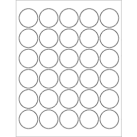 "White Moisture-Resistant Inkjet Printer 1.5"" Circle Labels (1 Sheet, 30 Labels) - Your Oil Tools"