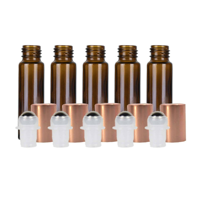 10 ml Amber Glass Roller Bottles w/ Metal Caps (Pack of 5) - Your Oil Tools