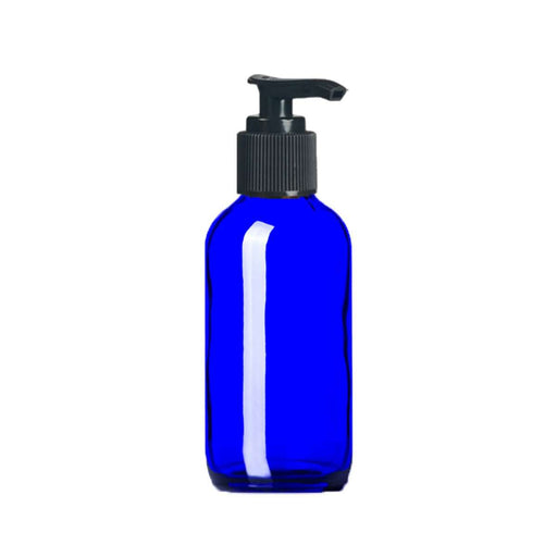 4 oz Blue Glass Bottle w/ Black Pump Top - Your Oil Tools