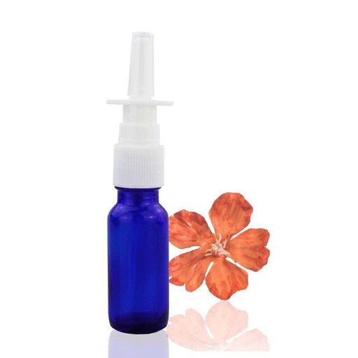 15 ml Blue Glass Bottle w/ White Nasal Atomizer - Your Oil Tools