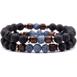 Lava Rock Bracelet Set (Blue Vein and Wood) - Your Oil Tools