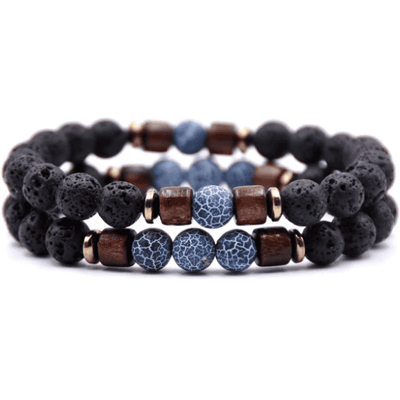 Blue Vein Stone & Wood Bracelet Set