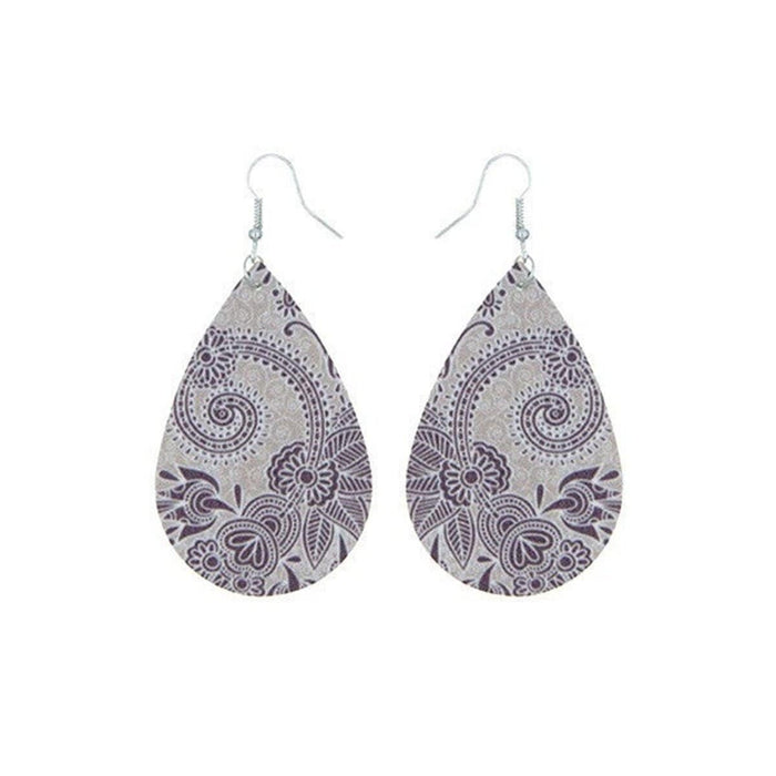 Paisley Aroma Earrings (Purple & Grey) - Your Oil Tools