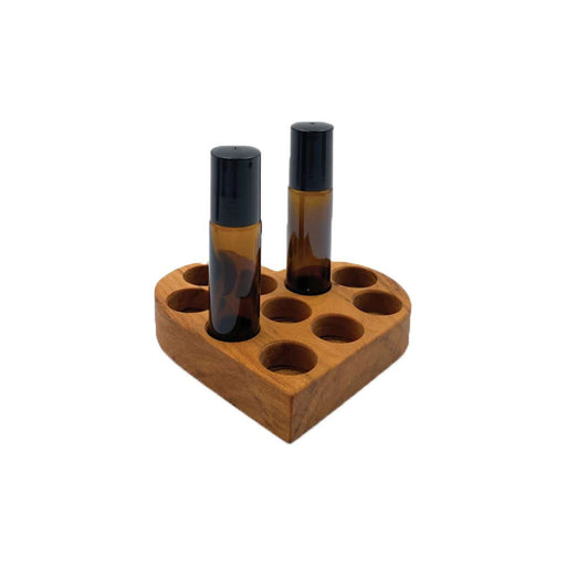 Heart Wooden Display Holder for 10 ml Bottles (Wild Cherry) - Your Oil Tools