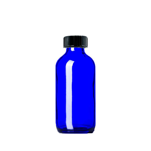 4 oz Blue Glass Bottle w/ Storage Cap - Your Oil Tools
