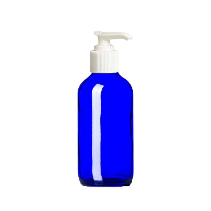 4 oz Blue Glass Bottle w/ White Lotion Pump - Your Oil Tools