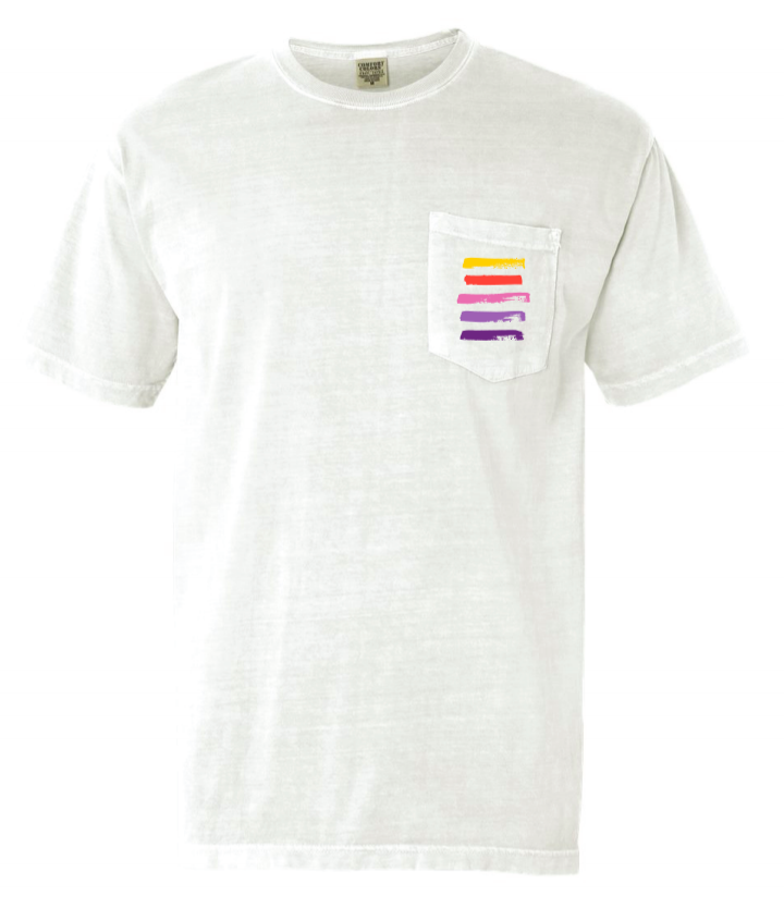 Brio Stripe Pocket Tee - White